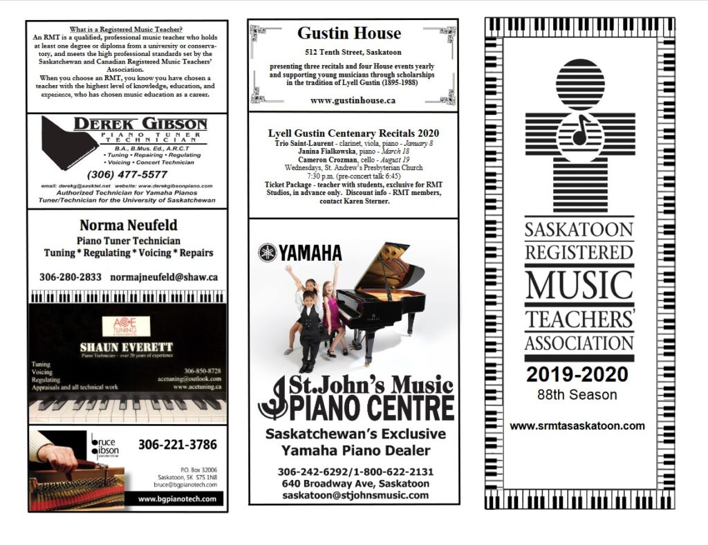 Brochure page 1 - advertisements listing